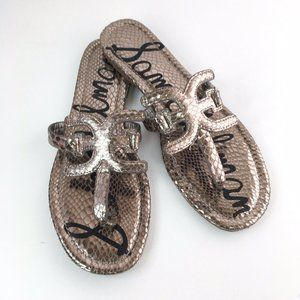 Sam Edelman Carter Pewter Metallic Snake Sandals